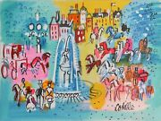 Charles Cobelle, Paris Fountain With Horses, Acrylic On Canvas, Signed L.r.