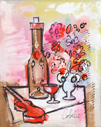 Charles Cobelle Still Life With Wine And Violin 4 Acrylic On Canvas Signed L.