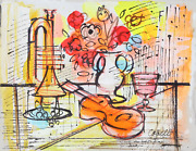 Charles Cobelle Still Life With Trumpet 1 Acrylic On Canvas Signed L.r.