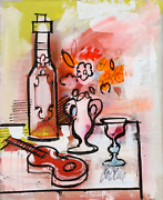 Charles Cobelle Still Life With Wine And Violin 6 Acrylic On Canvas Signed L.