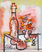 Charles Cobelle Still Life With Wine And Violin 7 Acrylic On Canvas Signed L.