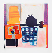 Wendy Chazin, Blue Pitcher On Tablecloth, Lithograph On Arches, Signed And Numbe