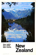 Travel Poster New Zealand - New Sights New Thrills New Friends Poster
