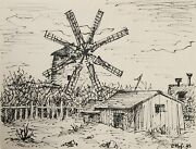 Laurent Marcel Salinas, Farmhouse With Windmill 242, Ink On Paper, Signed