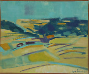 Roger Derieux Abstract Teal Landscape Oil On Paper Mounted To Canvas Signed L