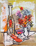 Charles Cobelle Still Life With Violin And Flowers 2 Acrylic On Canvas Signed