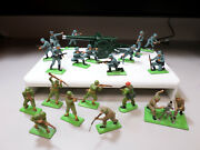 Vintage Britains Ltd Wwii German, British, Us Toy Soldiers And Rare Field Cannon