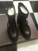 Nib 100 Auth Mens Sella Leather Ankle Biker Boots 368430 1398
