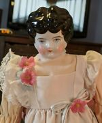 Antique 16-inch Hertwig China Head Doll In Peach Dress W/ Attached Pinafore-6