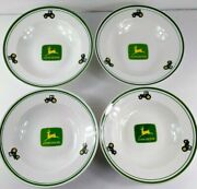 John Deere Bowls By Gibson Cereal Soup Set Of 4 Tractor Logo 9 Farmhouse Decor