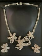 Weiss Suite Rhinestone Vintage Costume Jewelry Necklace And Earrings Reduced