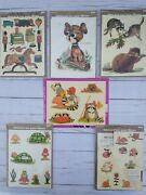 Vintage Meyercord Decals Animals Dog Mouse Raccoon Turtle Frog Toys Train Lot