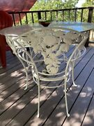 Rare Vintage Brown Jordan Pomegranate Wrought Iron Patio Table + 8 Chairs 1950s