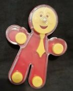 Rare Cute Vintage 1970-80and039s Hard Plastic Smiley Man With Tie Baby Rattle Toy