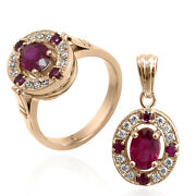 14k Solid Rose Gold Russian Style Genuine Diamond And Ruby Ring And Pendant Set