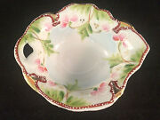 Mini Handled Floral Gold Accented Bowl Hand Painted
