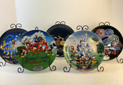Lot Of 5 Mickey Mouse Walt Disney World Collector Plates 2002 -2003- 2004