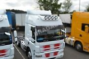 To Fit 2008+ Daf Cf Space Cab Stainless Roof Bar + Round Spot Lamps X4