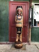 John Gallagher Carved Wooden Cigar Store Indian 3 Ft. Statue White Buffalo Knife