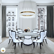 New White 1.5mandoslash Marble Dining Table W/ Lazy Susan And 4 Wh Chairs Modern Furniture