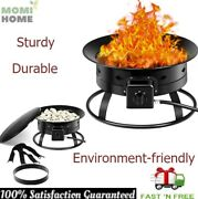Portable Propane Fire Pit Gas Kit Large Outdoor Yard With Metal Lid Rock Cover