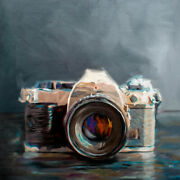 Vintage Film Camera - Oil Painting Archival Giclee Print Poster Wall Art