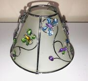 Glass Lamp Shade-jeweled-studded Color Polished Crystals -butterflies And Flowers