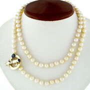 Vintage 34 7-7.5mm Pearl Strand Necklace 14k Gold Diamond Sapphire Toggle Clasp