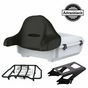 Crushed Ice Pearl Wrap-around Backrest Chopped Tour Pack Trunk For 97-20 Harley