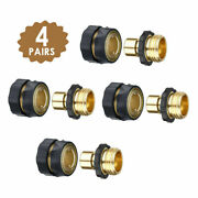 3/4and039 Garden Hose Quick Connect Brass Anodized Aluminum Female Male Set 4 Pack