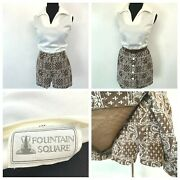 Vintage 1960s Fountain Square Romper Size M Optional Skirt Belted Paisley P8