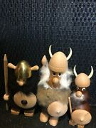 Figurines, Carved Wooden Vikings, Set Of 3 Made In Denmark And Sweden