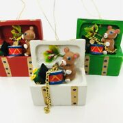 Vintage Toy Chest Christmas Ornament Wood Enesco Lot Of 3 Red White Green Teddy