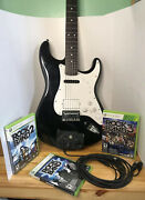 Xbox 360 Midi Pro + Squier Strat Electric Guitar And Rockband 3 Controller + Games