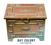 20th C Antique Arts And Crafts Hand Hammered Copper Kindling Box Strongbox Form