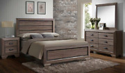 New Rustic Gray Brown Queen Or King 4pc Bedroom Set Modern Furniture Bed/d/m/n