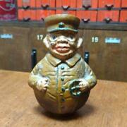 Japanese Antique Pottery Piggy Bank Japan Army