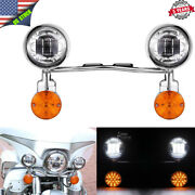 Motorcycle Led Amber Auxiliary Fog Passing Lights Bar Indicators Lamp For Harley