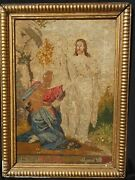 19th Century Religious Needlepoint Framed Jesus And Women Signed And Dated