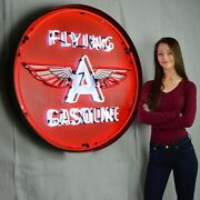 Gas Flying A Gasoline Licensed Business Beer Neon Sign In Steel Can 36 X 36
