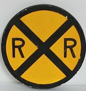 Vintage Rail Road Crossing Sign Chalkware Wall Decoration Round Yellow And Black