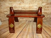 Vintage Egyptian Camel Saddle Wood Foot Stool Ottoman Chair Decor Brass Accents