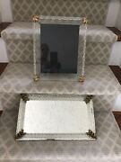 Vintage 1948 Mid Century Glass And Mirror Dresser Tray And Picture Frame Set Rare