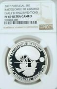 2007 Portugal Silver 8 Euro Early Flying Inventions Ngc Pf 69 Ultra Cameo Scarce