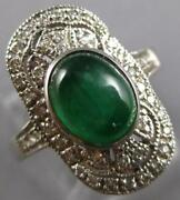 Antique 1.96ct Diamond And Aaa Cabochon Emerald 18kt White Gold Oval Filigree Ring