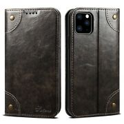 For Iphone 12 11 7 8 X Xs Max Xr Se2020 Genuine Leather Flip Wallet Case Cover