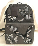 Men's Backpack Valentino Garavani Butterfly Embroidered Canvas W/leather Trim
