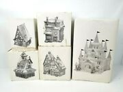 Lot Of 5 Department 56 Heritage Village Collection Houses