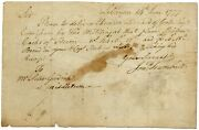 Autograph Note Signed By Connecticut Governor Jonathan Trumbull During