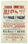 Broadside Sharon Connecticut July 4th Home Day 1918 Grand Parade And Pageant..